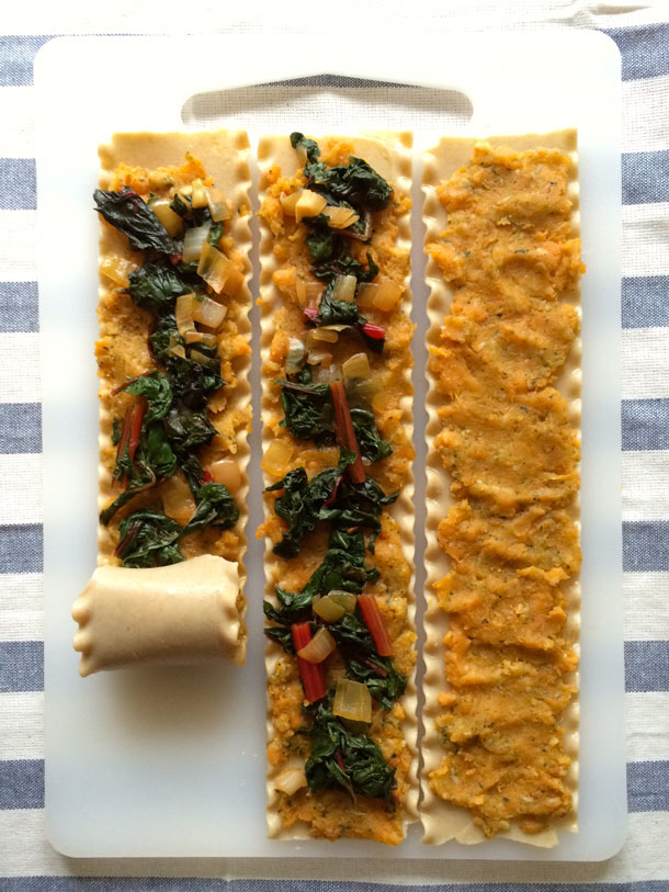 Sweet Potato and Chard Lasagna Wheels