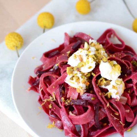 beet pasta with pistachios and shallot butter