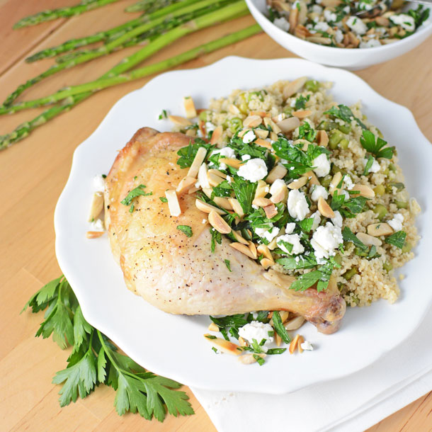 Spring Couscous and Roasted Chicken Legs