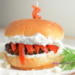 greek chicken burger with yogurt dill sauce