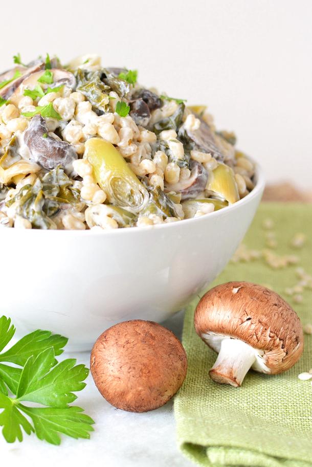 Hungarian Mushroom, Leek and Kale Pilaf