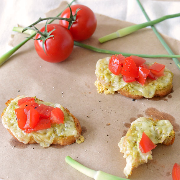 Garlic Scape Pesto Crostini