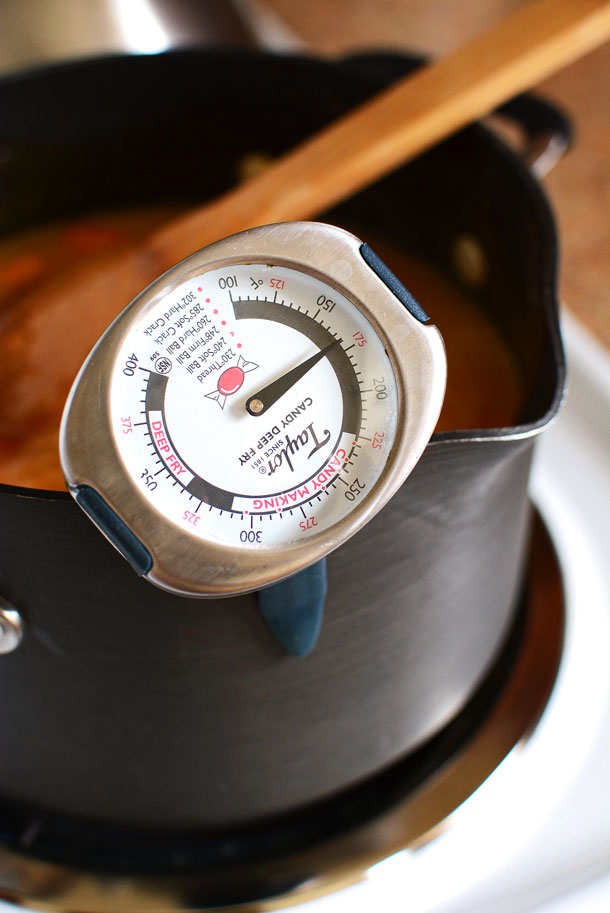 candy thermometer in apricot jam