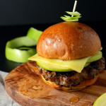 apple glazed pork leek burger