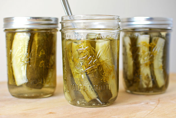 "The PERFECT recipe for small batch crunchy canned dill pickles! Complete with tips on how to can, how to make them look beautiful in the jar, and how get that coveted pickle ""crunch!"" 