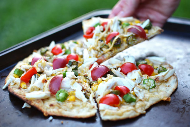 Crab, Okra, and Gouda Flatbread