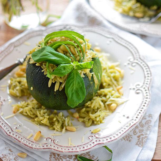 Pesto Orzo Stuffed Squash Bowls