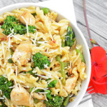 broccoli rabe and chicken pasta bowl