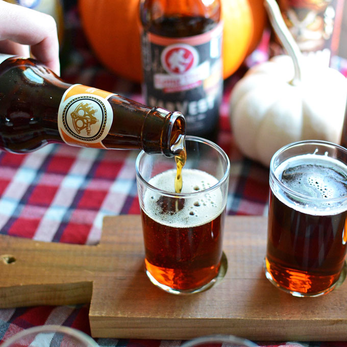 pouring fall craft beer into glass