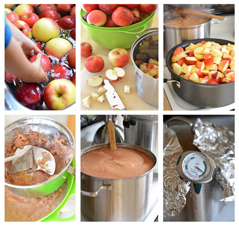 6-part-image showing Steps for Making Applesauce