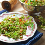 Shaved Brussels Sprouts with Bacon and Pine Nuts