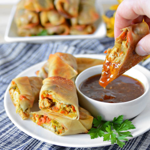 Baked Pork and Napa Cabbage Egg Rolls