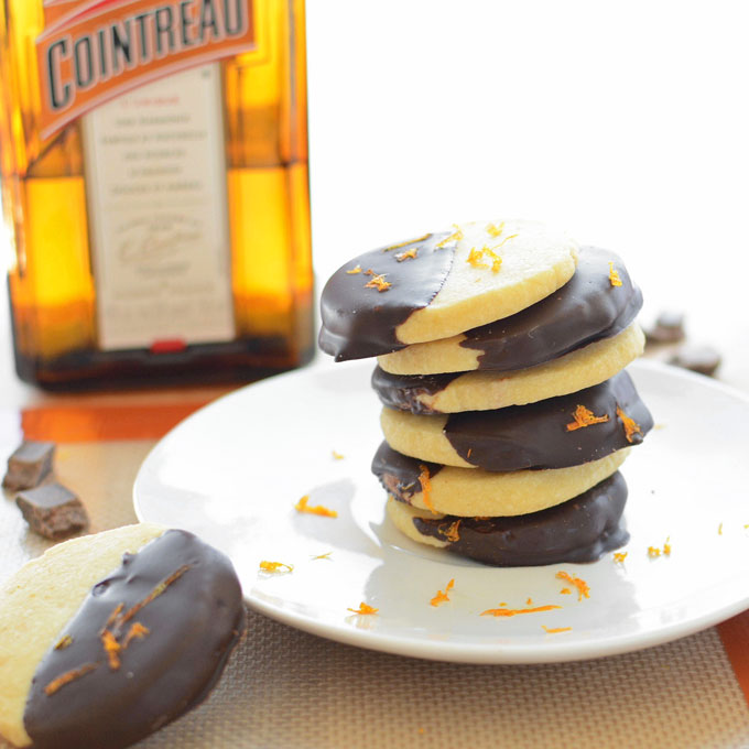 Chocolate Dipped Orange Shortbread Cookies