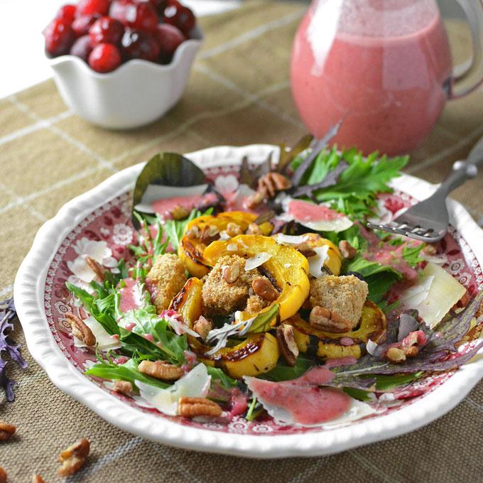 Spicy Greens Delicata and Crunchy Pork salad