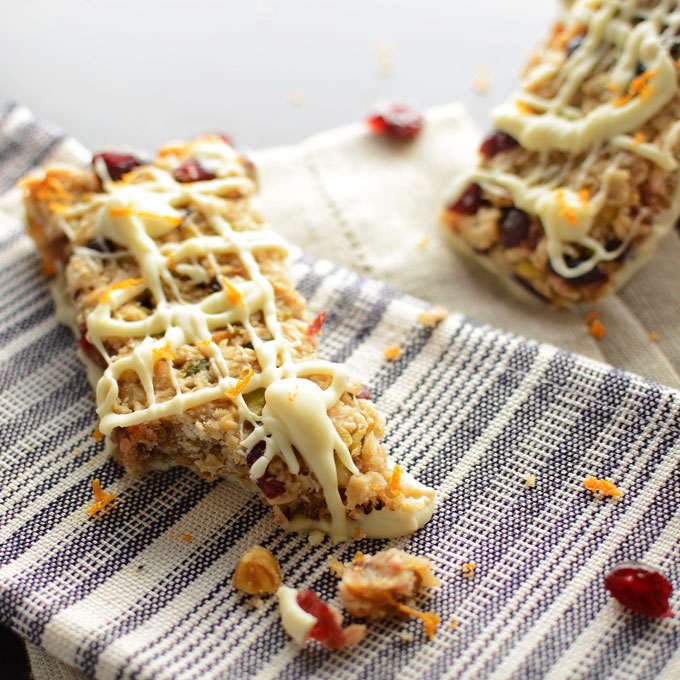 Cranberry Orange Granola Bars with White Chocolate