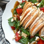 Strawberry and Spinach Salad with Balsamic Vinaigrette and Chicken