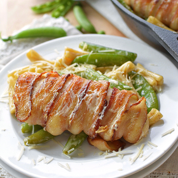 One Pot Bacon-Wrapped Chicken with Sugar Snap Peas and Pasta
