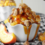 Maple Peach Streusel Ice Cream Sundaes