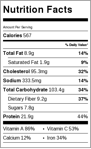 Dairy-Free Butternut Mac 'n Cheese Nutrition Facts