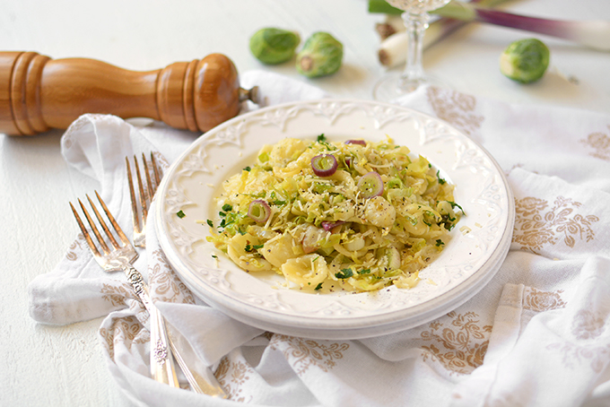 Brussels Sprouts and Red Spring Onion Orecchiette - Have your first taste of spring with this simple, tasty, and comforting pasta dish that will be on the table in just fifteen minutes!