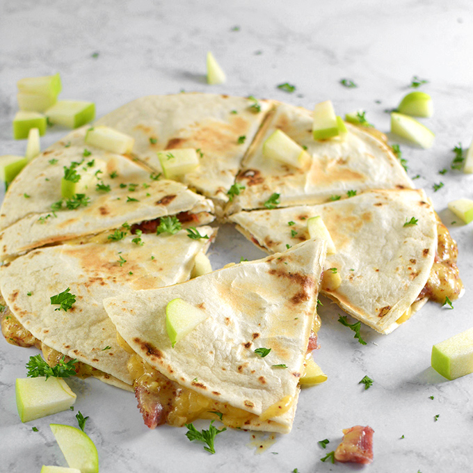 Honey Ham, Gouda, and Apple Quesadillas