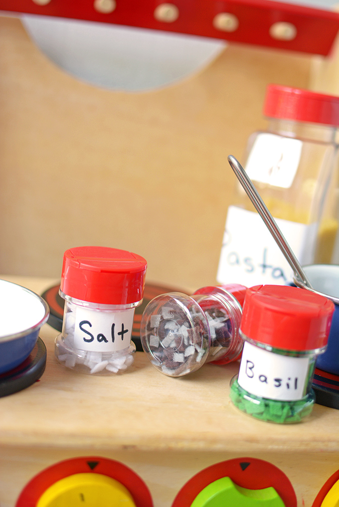 Play Kitchen Upcycled Spice Jars