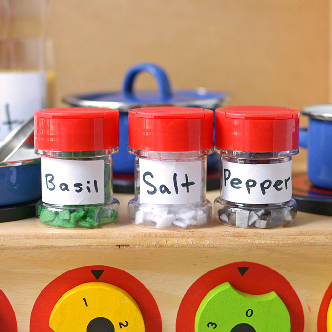 Play kitchen upcycled spice jars simple seasonal - Basic kitchen upgrades to liven up your kitchen ...
