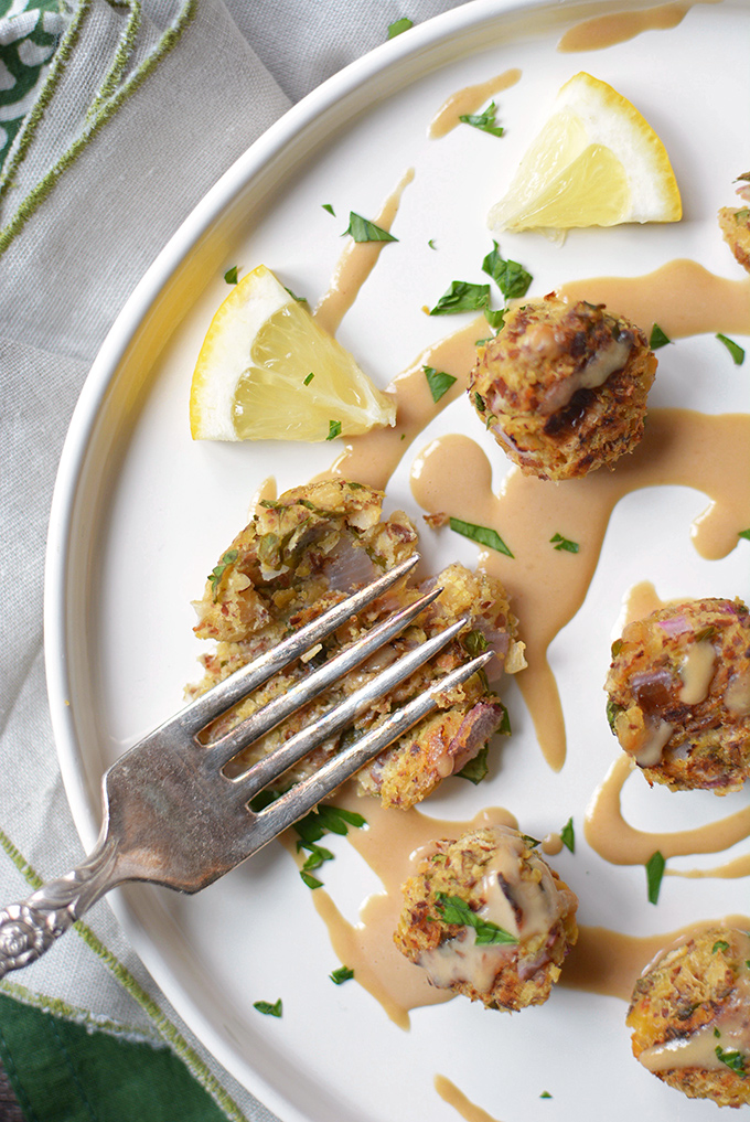 Baked Falafel Balls with Flax and Tahini Sauce