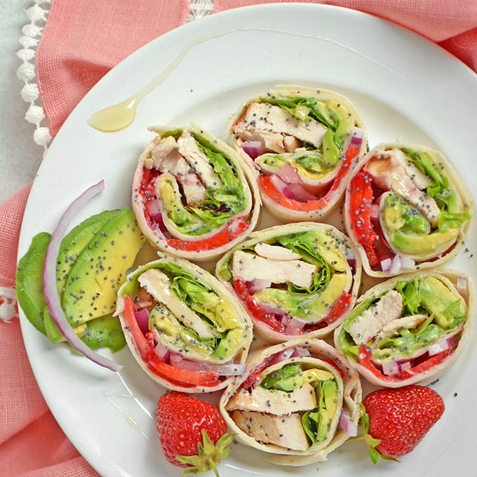 Strawberry Chicken Pinwheel Sandwiches