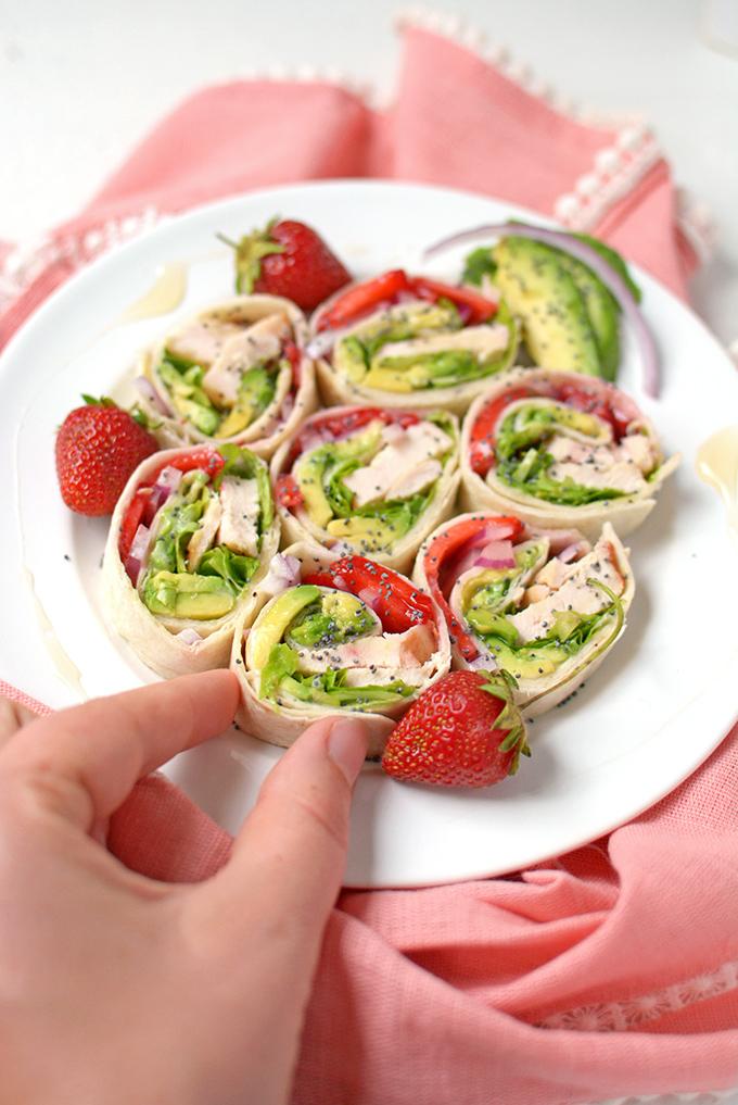 Strawberry Chicken Pinwheel Sandwiches