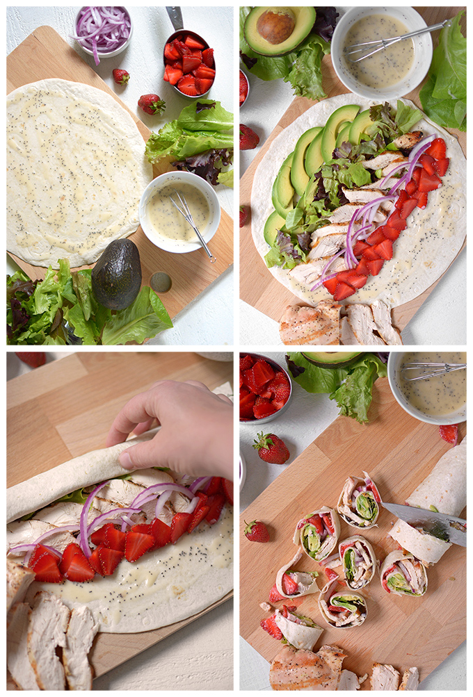 How To Make Strawberry Chicken Pinwheel Sandwiches