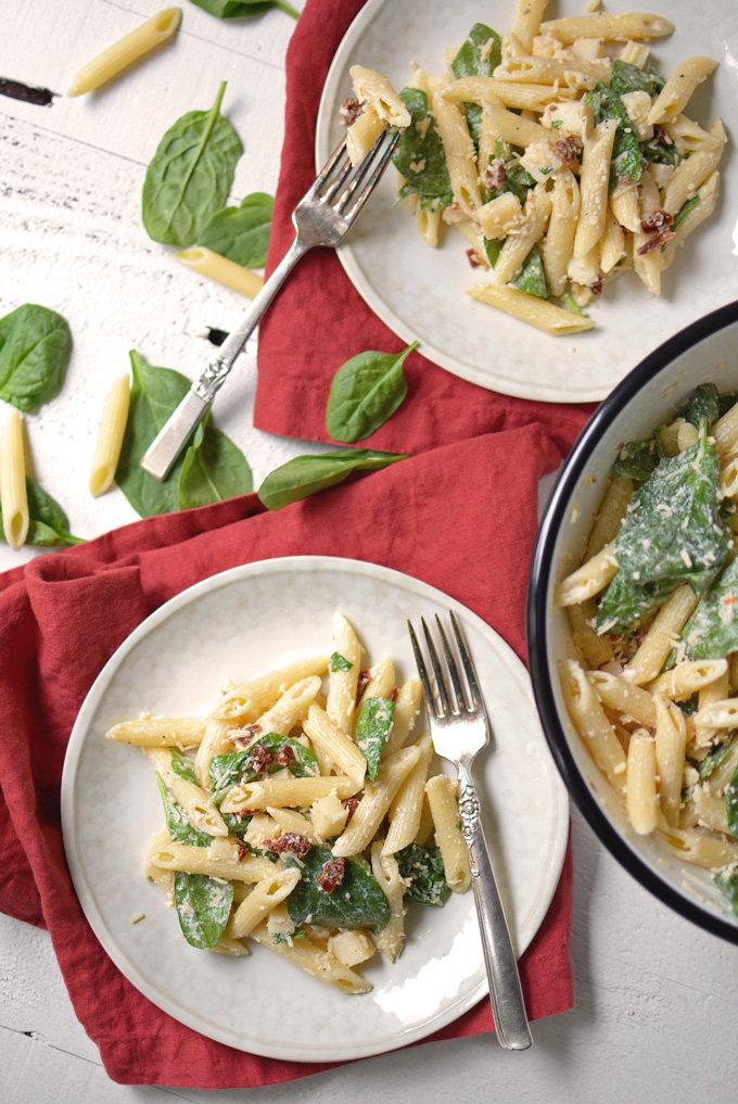 Smoked Mozzarella and Spinach Pasta Salad