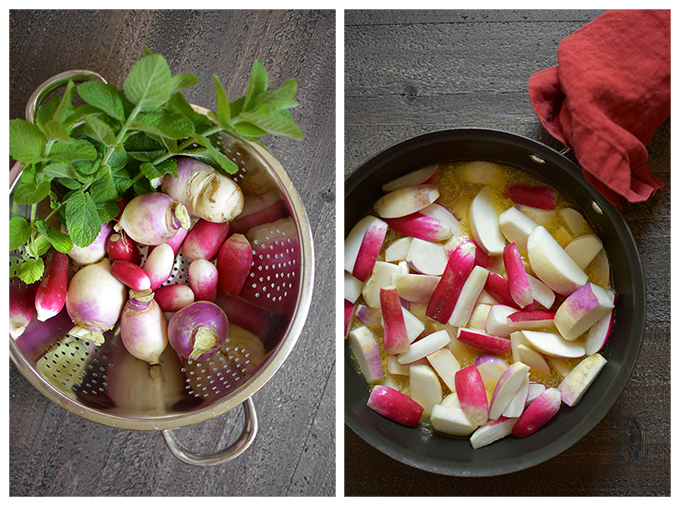 Making Butter Braised Radishes and Turnips