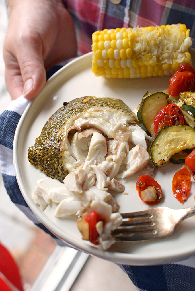 Roasted Bass and Summer Vegetables
