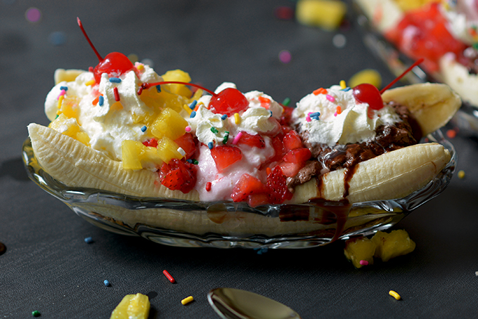 Making a Banana Split Breakfast Sundae Bowl