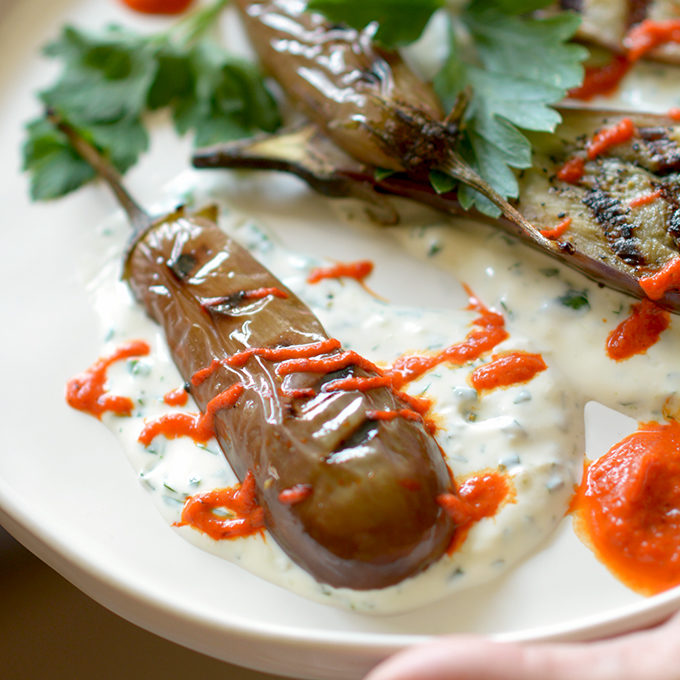 Fairy Tail Eggplant with Red Pepper and Garlic Sauces