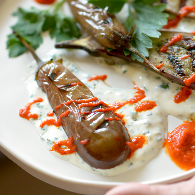 Fairytale Eggplant with Red Pepper and Garlic Sauces