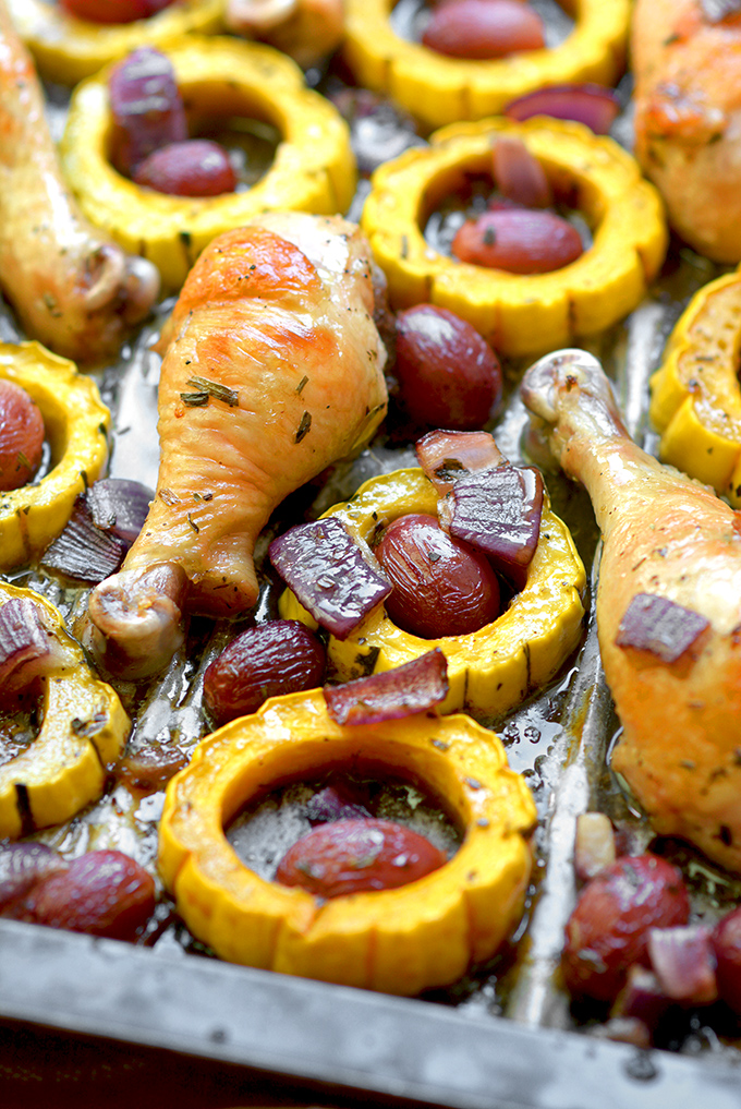 Sheet Pan Chicken Drumsticks with Delicata and Grapes