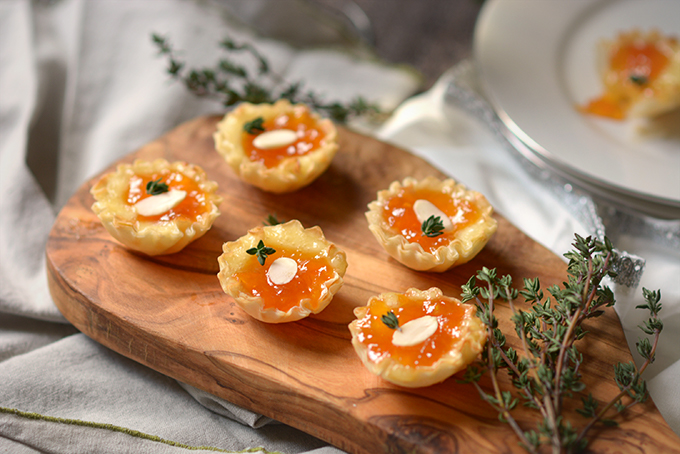 Almond Apricot and Brie Phyllo Cups