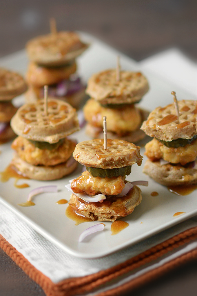 Chicken and Waffle Sliders with Spicy Maple Spread
