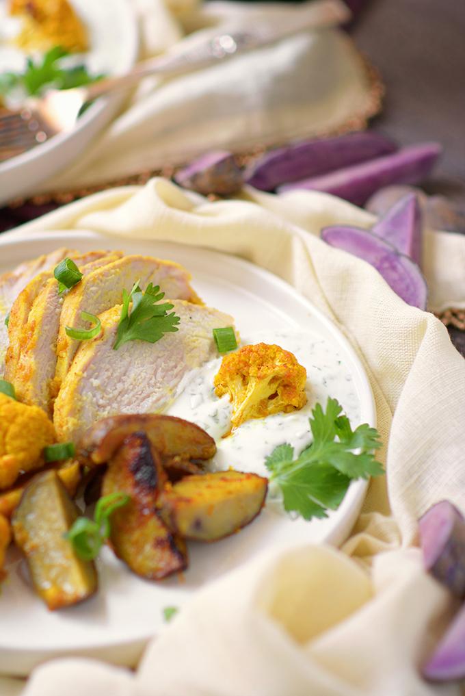 Curried Sheet Pan Pork Tenderloin with Potatoes and Cauliflower