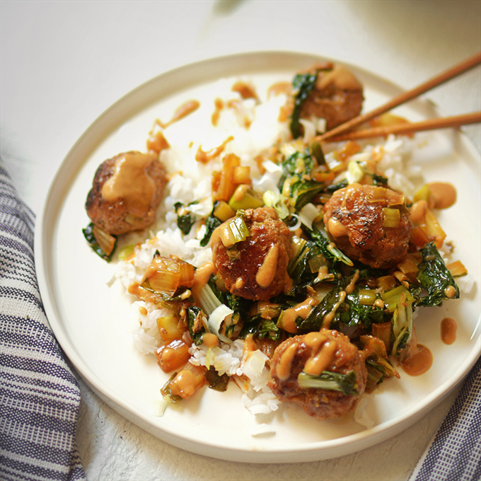 One-Pot Asian Meatballs with Bok Choy and Peanut Sauce