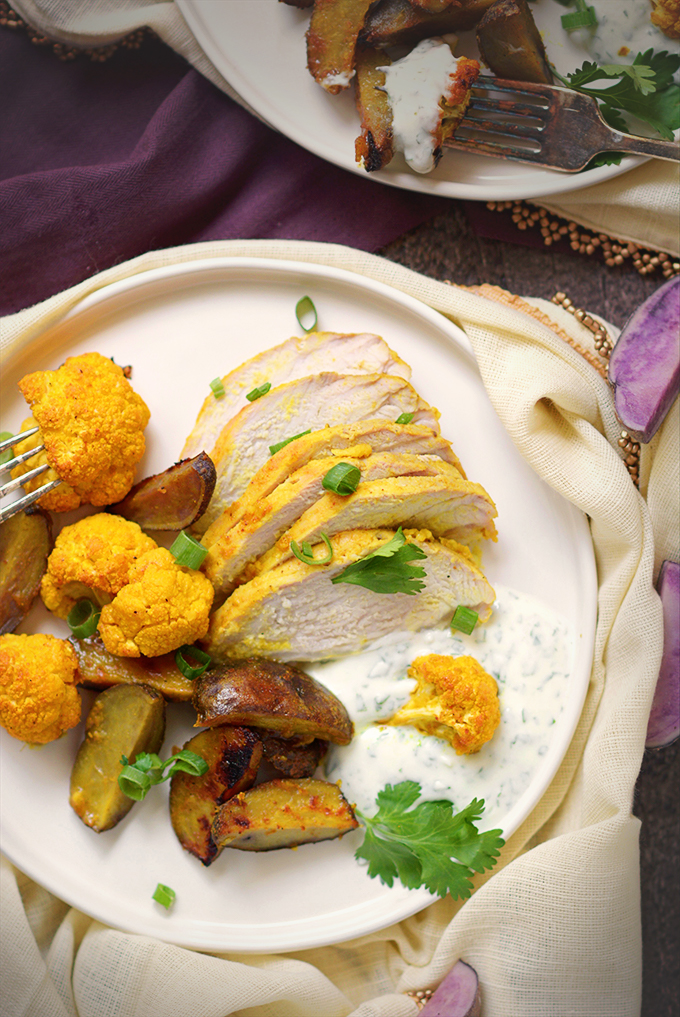 Curried Sheet Pan Pork Tenderloin with Potatoes and Cauliflower