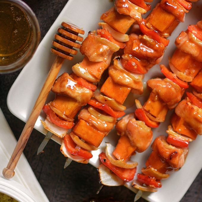 One Pan Honey Sriracha Chicken and Sweet Potato Skewers