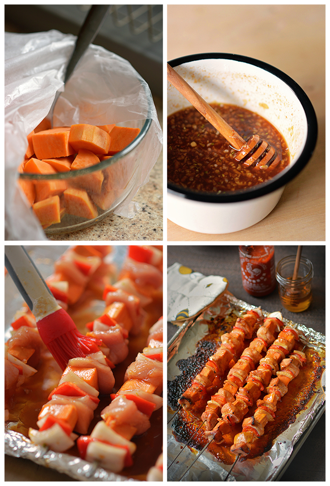How To Make One Pan Honey Sriracha Chicken and Sweet Potato Skewers