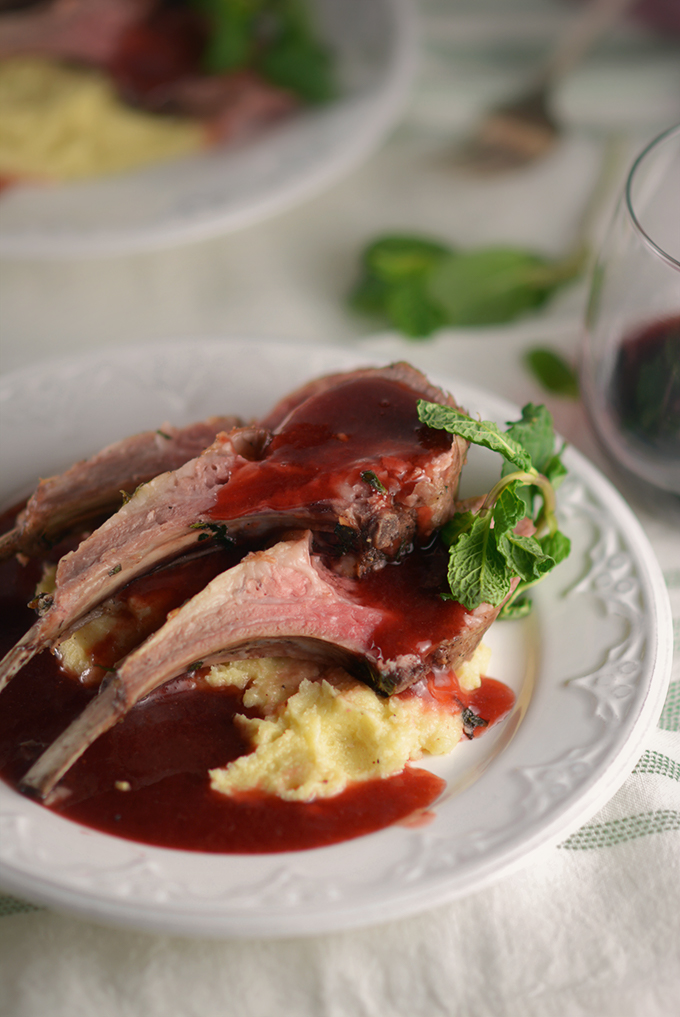 Roasted Rack of Lamb with Parsnip Puree and Strawberry Mint Sauce