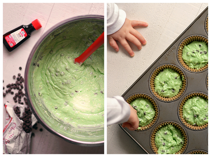 Making Semi-Homemade Mint Chocolate Chip Cupcakes