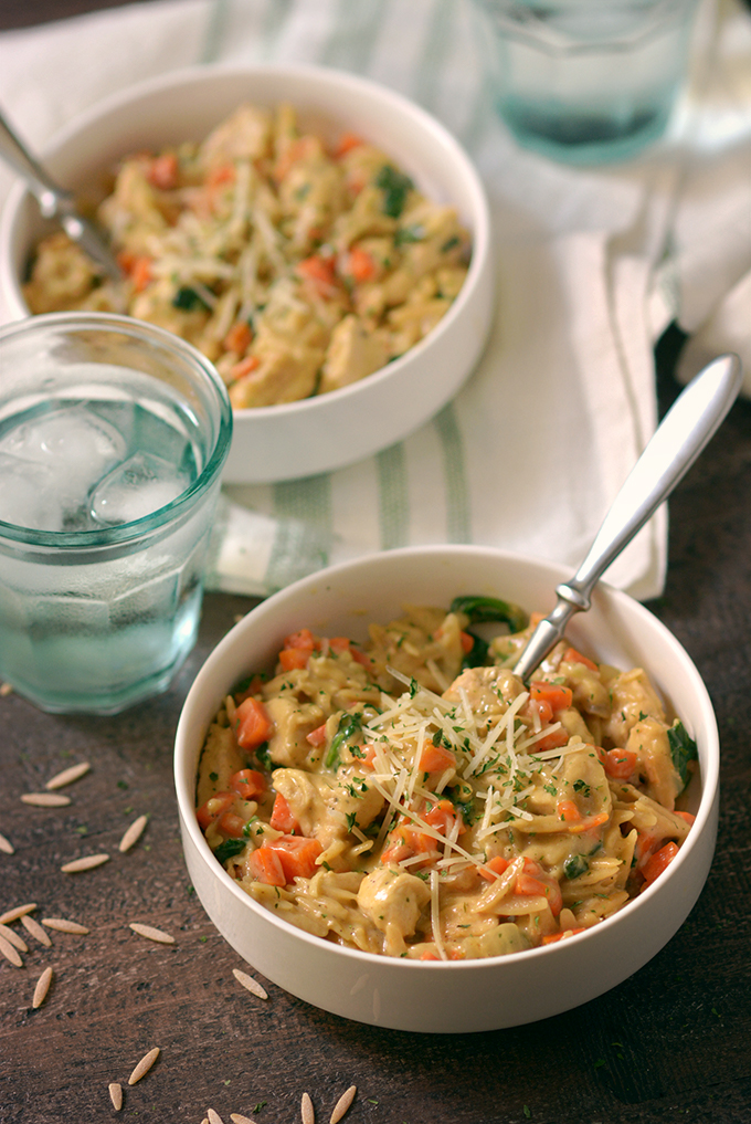Creamy One-Pot Chicken, Carrot and Spinach Orzo