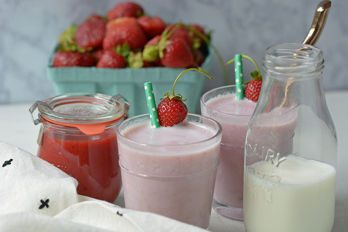 Homemade Reduced-Sugar Strawberry Milk