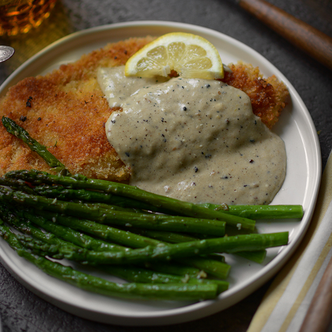 One Skillet Country Fried Tilapia with Creamy Lemon Sauce and Garlicky Asparagus
